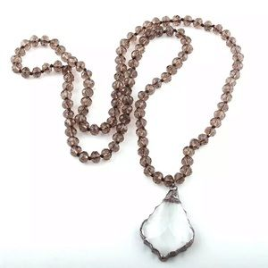 Beaded glass pendant long necklace